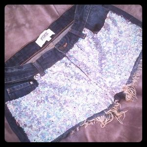 PINK sequin jean shorts victoria secret size 8